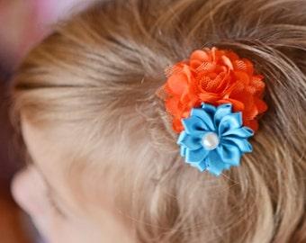 Orange hair clip, turquoise hair clip, piggy tail hair clip, flower hair clip, baby shower gift, baby hair clip, girl hair accessory, blue