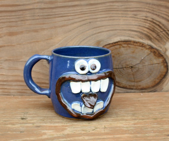 Funny Fall Coffee Cup in Blue. Googly Eye Face Mug. Opinionated Coffee Cup. Large 16 Ounce Fall Beer Stein. Ceramic Clay Tankard