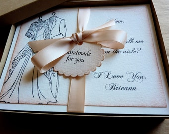 Mother Of The Bride Boxed Card Mom Will You Walk Me Down The Aisle  Vintage Wedding