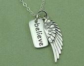 Believe Necklace - sterling silver inspirational necklace - she believed she could