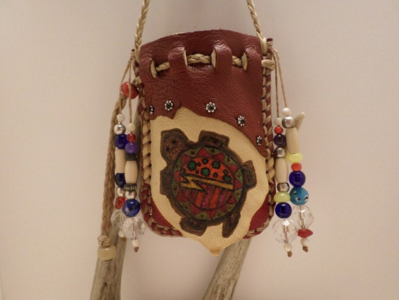 Red Colored Deerskin Leather Medicine Bag with a Turtle design on the front