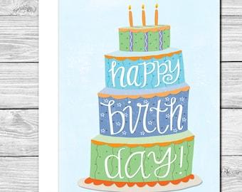 Celebrate with a big cake hand drawn birthday card