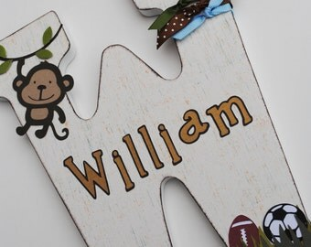 Custom Wooden Wall Letters - Hanging Letters - Nursery Letters - Monkey / Jungle Theme Customized  Name Letter. Lambs and Ivy Team Safari