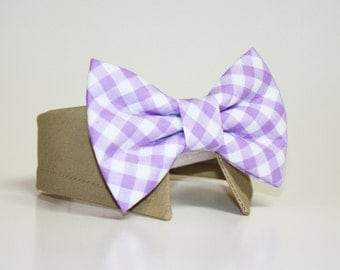 Lavender/Lilac Gingham Dog Bow Tie and Shirt Collar-  Wedding Dog Tie and Shirt Collar