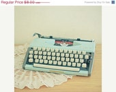 SALE 25% OFF RESERVED for Amy -  I Have a Story to Tell - Typewriter photograph, light blue, library wall art
