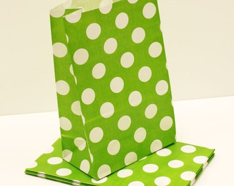 Paper Bags, 12 Large Green Polka Dot Stand Up Party Favor Bags, Wedding Favors, Kids Birthday, Candy Bags, Packaging, Popcorn Bag, Snack Bag