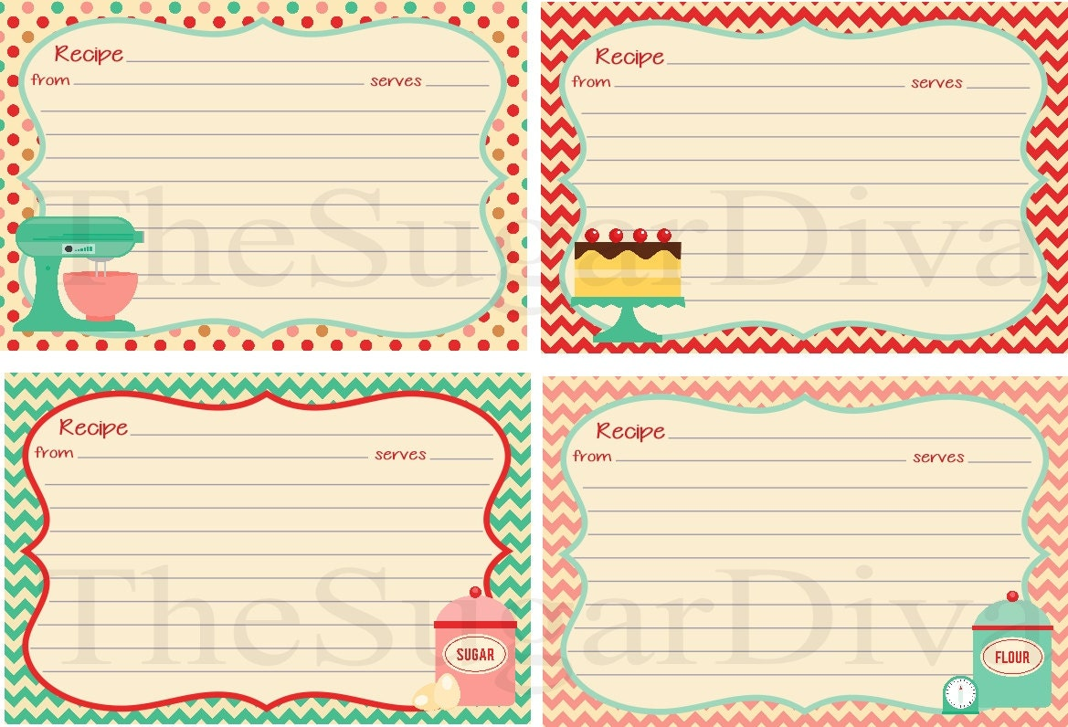 Recipe Cards Cute Cottage Style Recipe Card DIY by ...