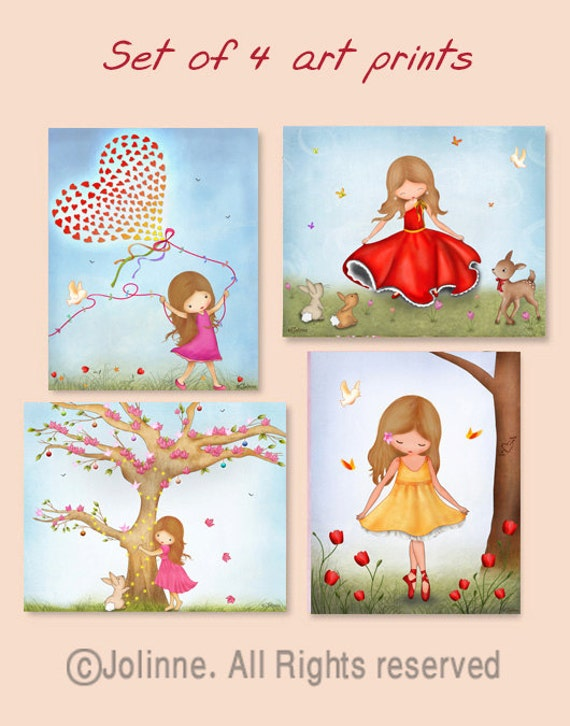 Childrens room wall art, girls room decor, posters, girls art prints set of 4, nature inspired