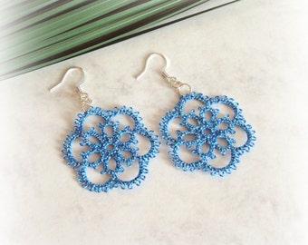 Denim Blue Earrings , Lace Flower in Tatting - Aster