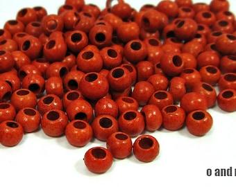 Round greek ceramic beads, tangerine orange, glossy finish. 5mm - 30 pieces