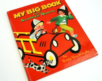 My Big Book and Scotty's Room by Betty Ren Wright 1964 Hc / MCM Illustrations / Vintage Childrens Whitman Giant Tell-A-Tale Book