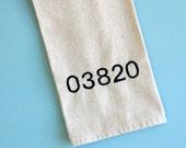 zipcode towel, kitchen towel, guest towel, custom tea towel
