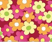 Daisy Mae Fabric by Benartex Hip Mod Retro Hippy Daisy Daisies Azalea Pink Medley