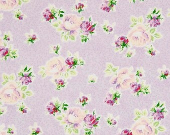 Mary Rose Fabric Collection by Quilt Gate SWEET CHARMS 15E Floral Flower Rose Buds on Pale Lavender