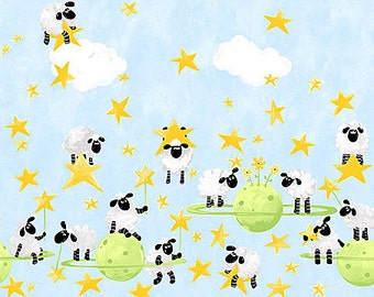 Animal Collections Fabric by Susie Bee Lewe The Yew Jumps Over The Moon Sheep with Stars in a Blue Sky Border Print