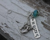 mermaid, beach, wave, hand stamped necklace