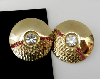 1960s Italian Vintage  Earrings with rubies and golden double texture, elegant design --Art.915/2-