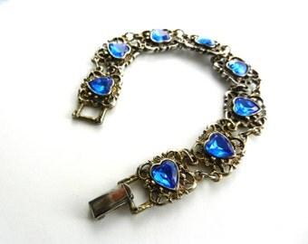 Lovely Vintage  Silver Tone Bracelet With Blue Heart Shaped Rhinestones--1960 Italian Bracelet--art.208/3-