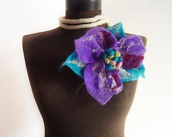 felt artistic flower fiber purple necklace lariat, eco friendly, statement necklace
