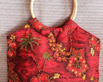 Red Laua and Bamboo Handle Bag