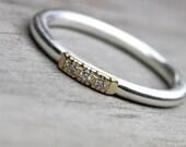 Vintage Inspired Wedding Band Diamond Gold Silver - Glow Row