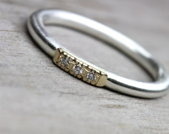 Vintage Inspired Wedding Band Diamond Gold Silver - Glow Row