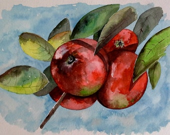"""Original Watercolor Painting- """"Maine Apples"""" Still Life Painting"""