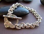 Estate Vintage Toggle Bracelet - Sterling Silver Chainmaille Beaded Bracelet