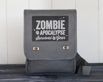 Zombie Apocalypse - Field Bag - School Bag - Smoke Gray - Canvas Bag