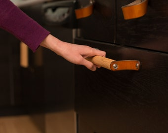 "Wood Drawer Handles - The ""Sellwood"" (Large 12"") - Leather Cabinet Door Handles and Drawer Pulls"