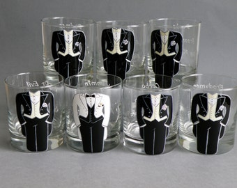 SALE Hand painted bachelor party Personalized Whiskey or Beer glasses Customized Suits or Outfits Gift