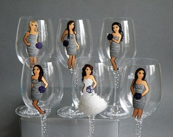 SALE Bridesmaids Gift Bridal shower party Personalized Wine or Champagne glasses Portraits and bridesmaids dresses