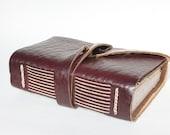 Faux Leather Journal or Sketchbook - Vegan Notebook or Travel Journal - Blank Book - Garnet Merlot - Handmade