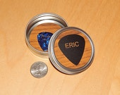 Guitar Pick Case, Round Metal Tin with name, personalized pick holder for guitarists