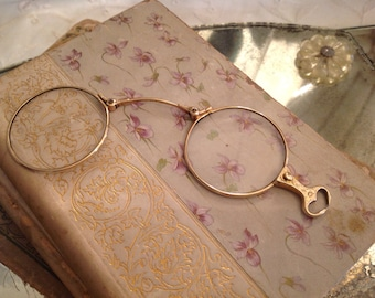 Antique 14 KT. Gold Folding Lorgnette Opera Glasses ~ Art Nouveau ~ Collectible Eye wear~Rare Opera Glasses~ Unique Gift~