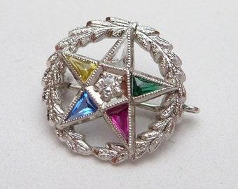 14kt Eastern Star  3pt Diamond Circle Pin White Gold