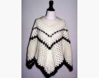 Black and White Women's Poncho