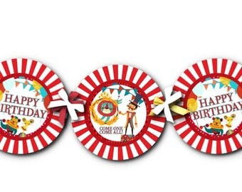 Circus Theme Birthday Banner, Bunting, Party Decoration, Carnival, Clowns, Circus Animals, Big Top, Red, Blue, Yellow, Photo Prop