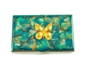 Business Card Case Butterfly Inlaid in Hand Painted Metal Wallet Turquoise Quartz Inspired Credit Card Holder Enamel Glossy Finish