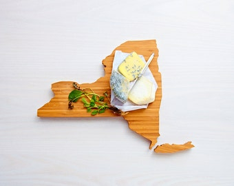 New York Cutting Board 4th of july Gift Personalized engraved New York cheese state shaped board