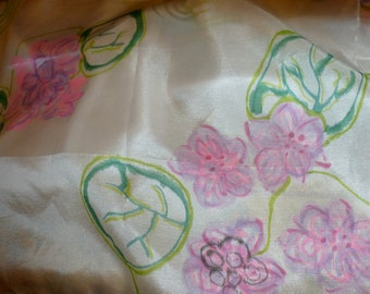 FINAL SALE - Silk Habotai Hand painted Shawl - Long and hand Painted - for a Wedding or Bridesmaid