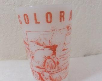 Vintage Colorado Milk Glass State Tumbler Red Souvenir Travel Vacation Road Trip Retro