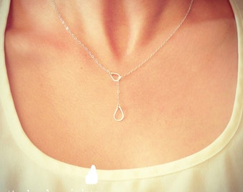 Sterling Silver Raindrop/Teardrop Lariat Necklace - Sterling Silver Jewelry - Gift For - Wedding Jewelry - Gift For - Rain Lariat