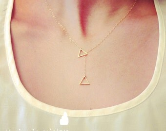Wholesale - Tiny Triangle Lariat Necklace - Dainty Little Triangle Charm, gold jewelry, lariat necklace, gift for, wedding jewelry, bridal
