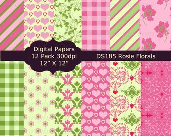 Instant Download - Floral Flowers Rosie Springtime Hearts Digital Papers Scrapbooking Cards Invites Backgrounds DS185