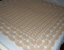 Crocheted Afghan -  Throw -  Blanket -  Coverlet - Bedspread - Large  ''SHELLS GALORE''  in Soft Tan