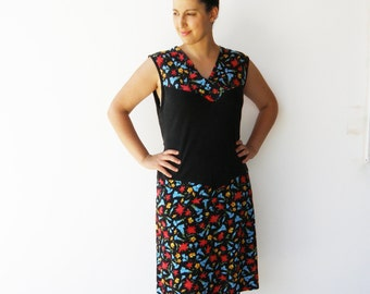 Vintage 1980s Day Dress / Tricot Floral Black Dress/ Size L