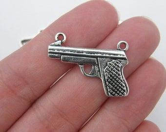6 Gun connector charms antique silver tone G74