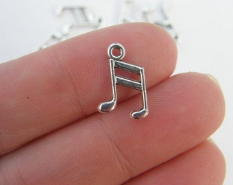 BULK 50 Music note charms antique silver tone MN1