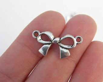 6 Bow connector charms antique silver tone CT147